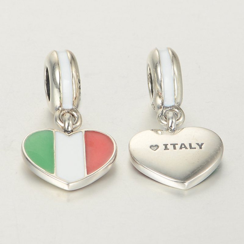 Pandora Italy Heart Flag With Enamel Dangle