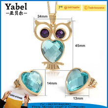 Wholesale Cat's Eye Stone Jewelry Set Owl Pendant Necklace Jewelry Women