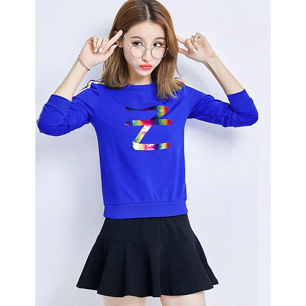 The fall of the new American long sleeved round neck sweater KD baseball uniform skirt suit slim female class two piece female l