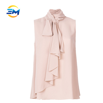 017147730a3d9f Latest fashion ladies blouse bow tie neck design sleeveless ruffles 100%  silk blouse