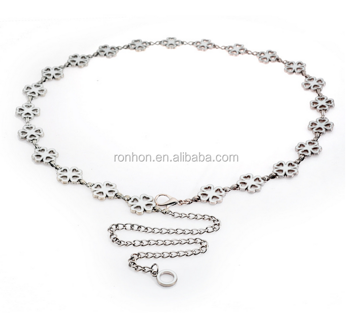 ladies dressy waist belt of metal chain with different shape