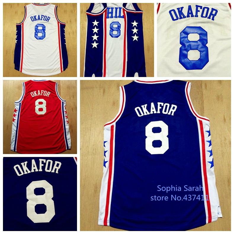 9d67b1577a0 Jahlil Okafor Jersey 2015 2016 Season Philadelphia 8 Jahlil Okafor Basketball  Jersey White Red Blue Color