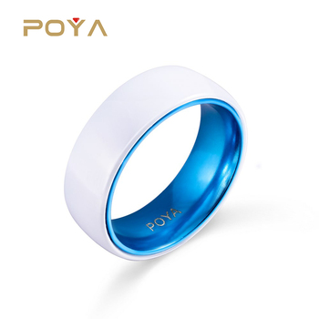 8mm White Ceramic Wedding Band Ring With Anodic Oxidatio Blue Aluminum Inner Domed Comfort