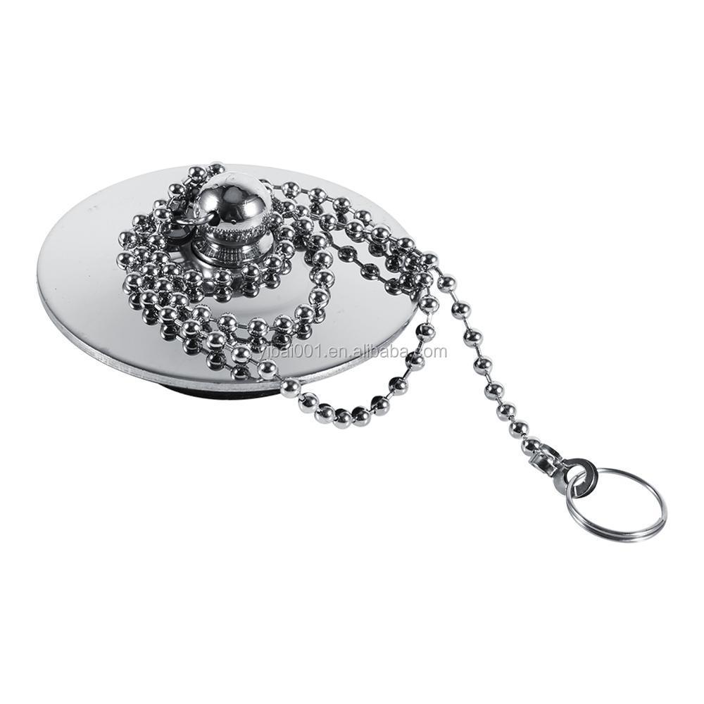 Chrome Kitchen Sink Ba/ño Tap/ón de desag/üe ba/ñera tap/ón de drenaje de metal s/ólido con cadena