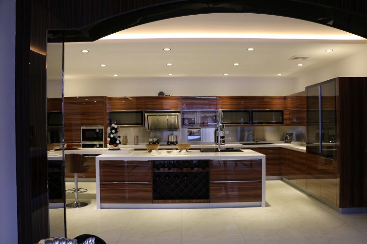 Jisheng teak wood melamine kitchen cabinet design modern for Ready made kitchen units for sale
