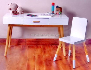 Wooden Modern Japanese Kids Study Table Chair With Drawer
