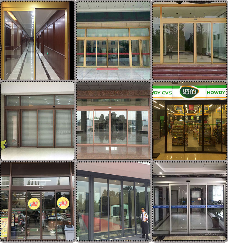 the High Strengthened Aluminium Profile Auto Door Exterior Automatic Sliding Door System With Safety sensors