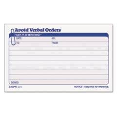 Avoid Verbal Orders Manifold Book, 6 1/4 X 4 1/4, 2-Part Carbonless, 50 Sets/bk By: TOPS