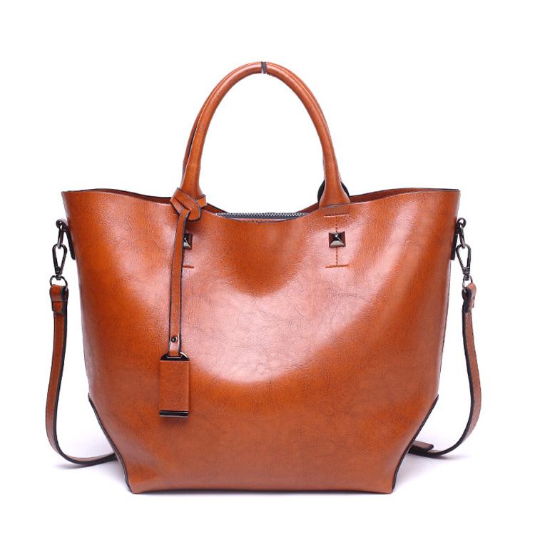 b1d6f777cf6c6 2018 توتر زلابية نوع عارضة الكلاسيكية نمط الشمع حقيبة يد جلدية حمل حقيبة