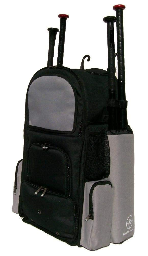Get Quotations · New Design Large Vista L in Black and Silver Adult  Softball Baseball Bat Equipment Backpack with 2959fe73710eb