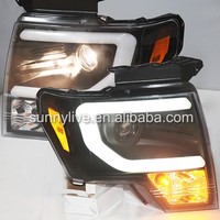 For FORD F150 Raptor LED Strip Head Lamp 2008-14 Year Black Housing SN