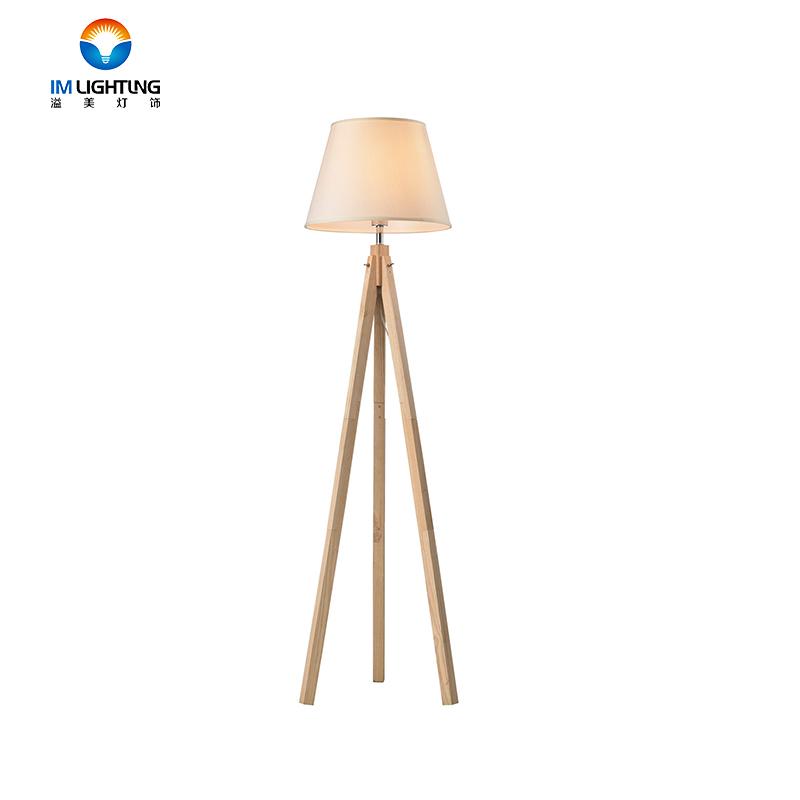 China Lieferant Moderne Elegante Holz Stativ Elfenbein Lampe Schatten Boden Lampe Fabrik Direkt Verkauf