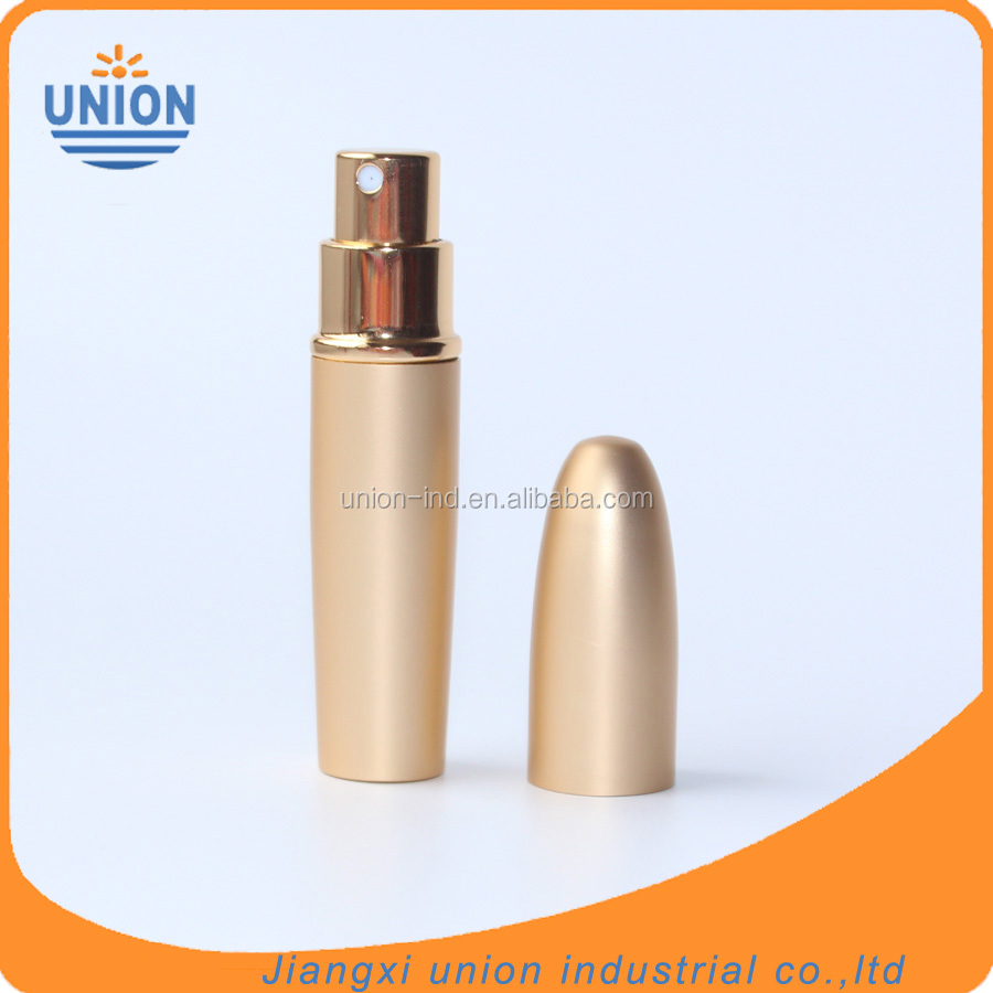 Hot sale 6ml mini gold color bullet shape aluminium perfume refill bottle for travel