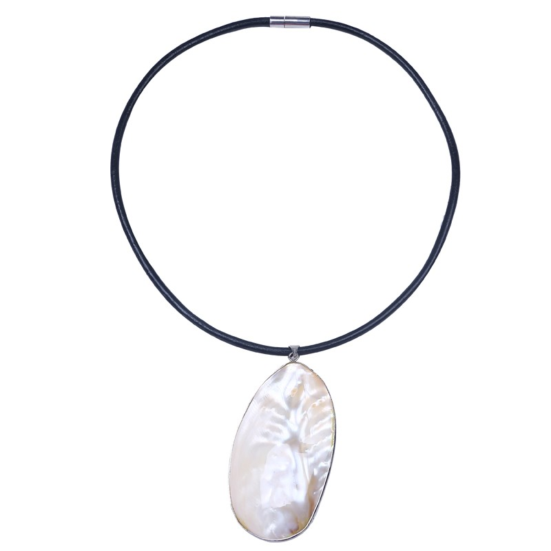mother of pearl pendant necklace leather rope necklace