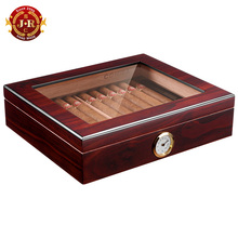 COHIBA Portable Cigar Box with Glass Top Wholesale Cedar Wood Travel Cigar Humidor Box With Humidifier Hygrometer CA-0121