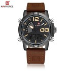 Top Brand Fashion Dual Time Men Quartz Clock Business Date Week For Man Leather Digital Analog Sport Luxury Naviforce 9095 watch