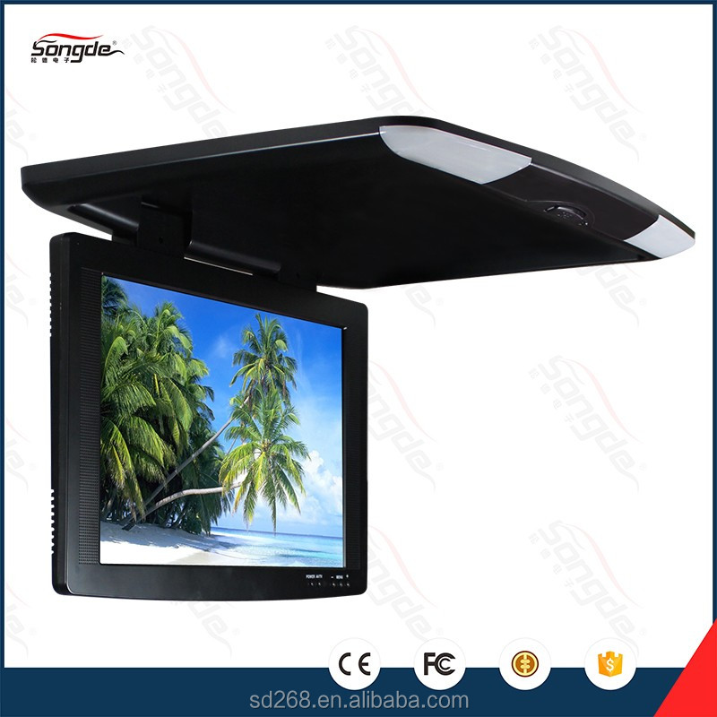 Slim lcd roof mounted monitor flip down lcd car monitor