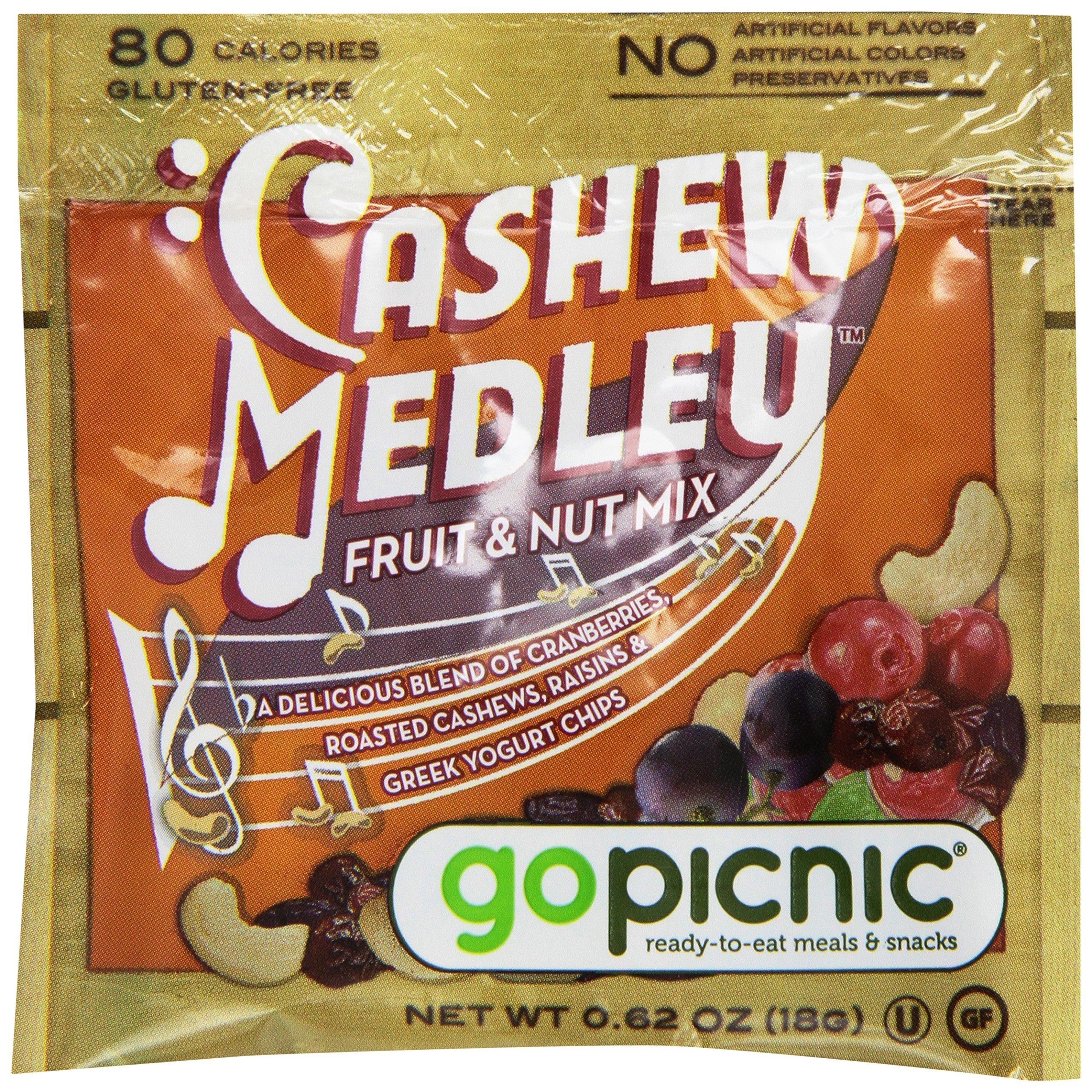 GoPicnic Sweet Perry Orchards Cashew Medley Fruit & Nut Mix, Snack Packs, 0.62 Oz 50 Count