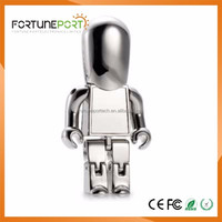Metal Silver/Golden Robot Shaped USB Flash Drive with your company logo on it 1gb to 64gb