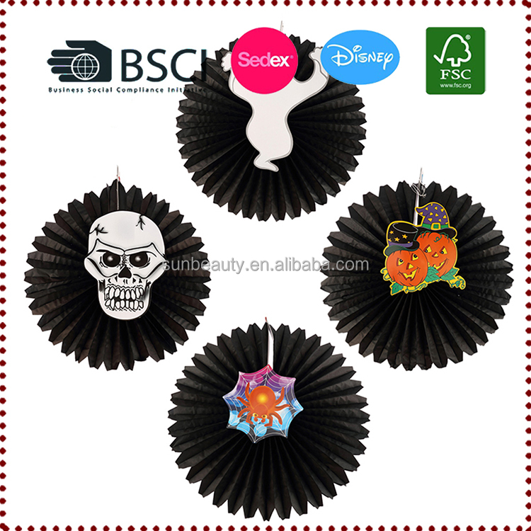 Wholesale Halloween Haning Paper Fan Party Decoration Halloween Suppiles with Skull,Pumpkin,Ghost,Spider