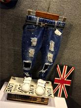 (2-7Y) Boys Jeans 2016 Spring New Fashion Boys Jeans Korean Version Of The Dot Kids Ripped Jeans For Boys