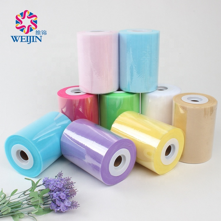 6 Inch Tulle Roll 100 Yards Mesh Fabric Girl Skirt Wedding Decoration 100%Polyester Flocked Microfiber Tulle Fabric Roll Spool
