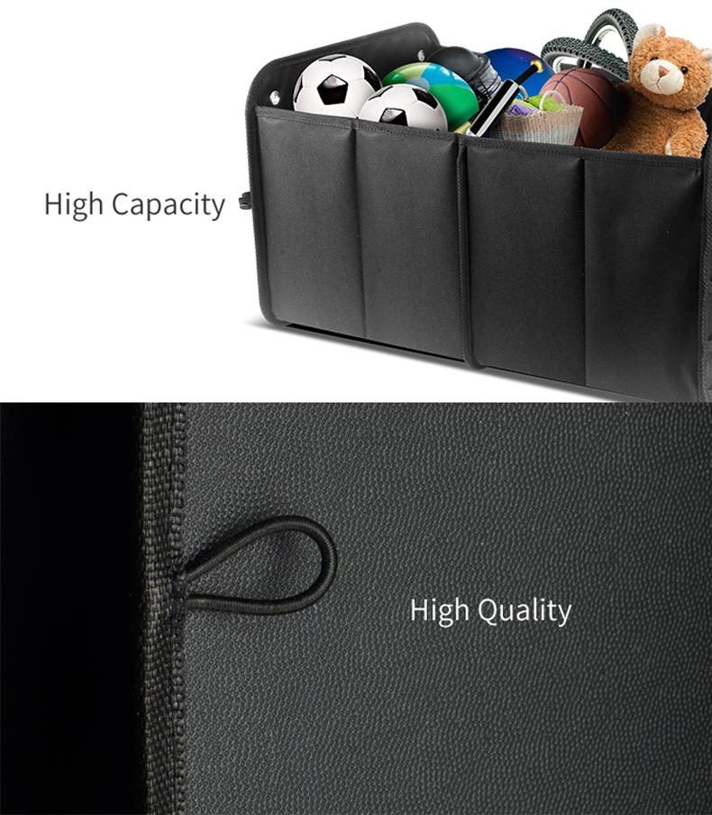 Schwarzer Polyester-Kofferraum-Organizer faltbar für Auto, faltender Auto-Organizer-Kofferraum mit mehreren Taschen