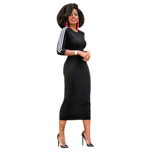 Casual Women Midi Dress Contrast Stripe O-Neck Half Sleeve Bodycon T-Shirt Dress Pencil Dress Black/Grey/Red