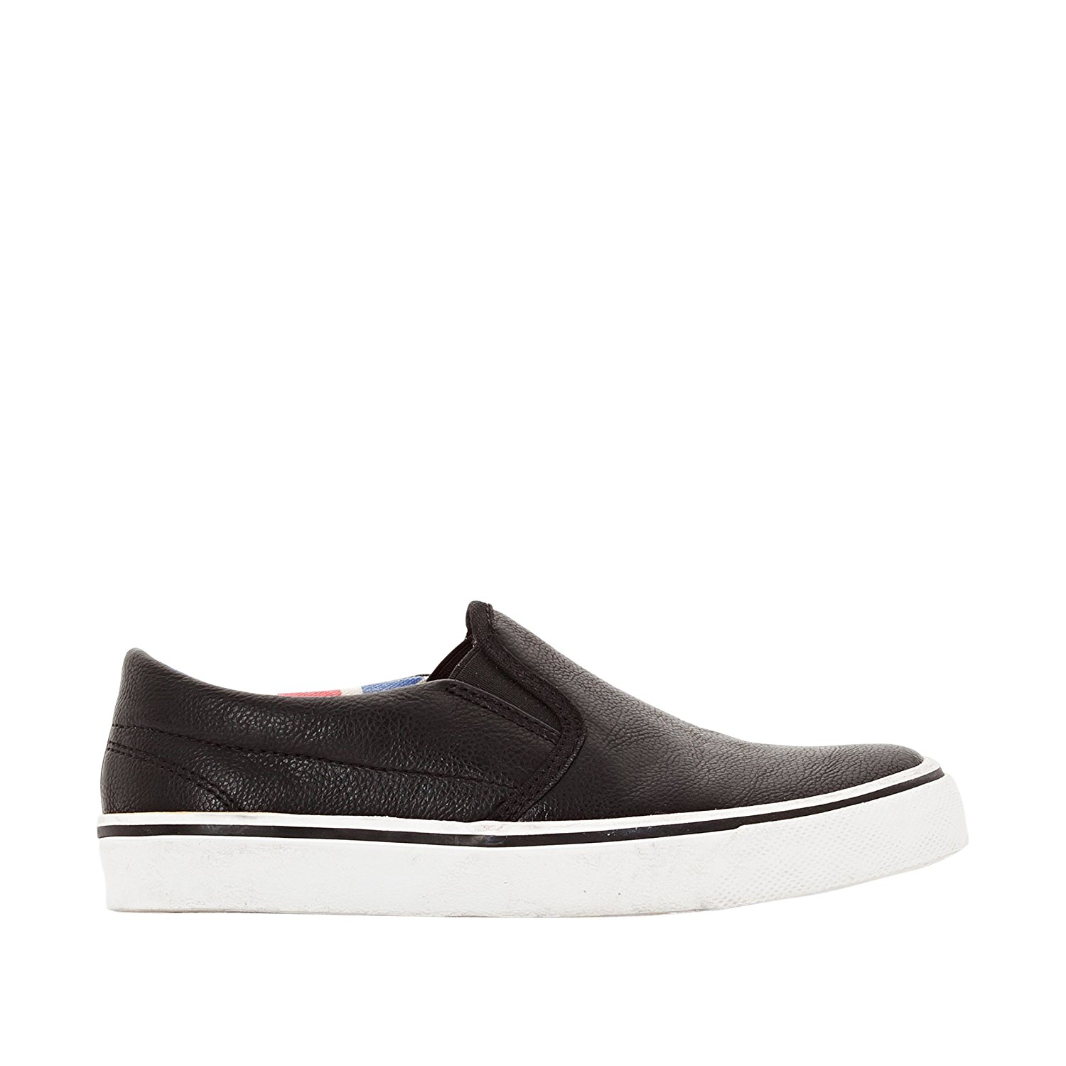 5f32a2c72858 Get Quotations · R Kids Little Boys Low Top Faux Grained Leather Plimsolls