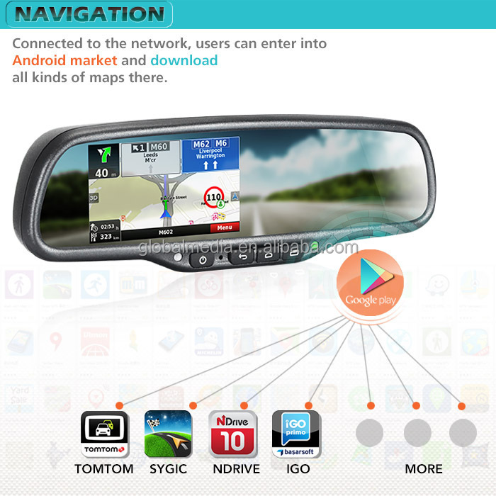 Car 3g Android Gps Navigation Mirrorrear View Mirror Recorder With