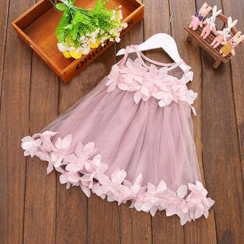 Boutique summer little girls petal lace dress skirts Birthday party pageant princess dress