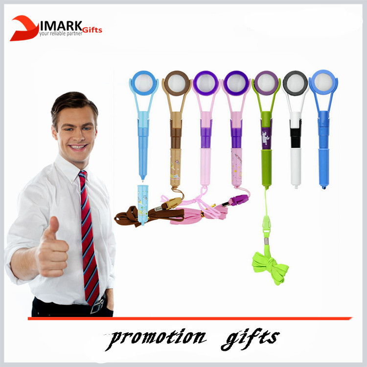 cheap novelty shaped magnifying glass shaped lanyard pen
