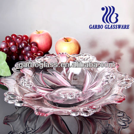 Practicability and decoration fruit glassware round glass plate