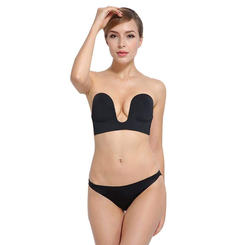 e7957d4bb41cf Get Quotations · Sunward Women s Sexy Strapless Invisible Silicone Push Up  Deep U Paste Type Bra