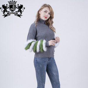 2018 Custom Computer Knitted Women Polar Fleece Sweater Winter Women With Colorful Raccoon Fur On The Sleeves