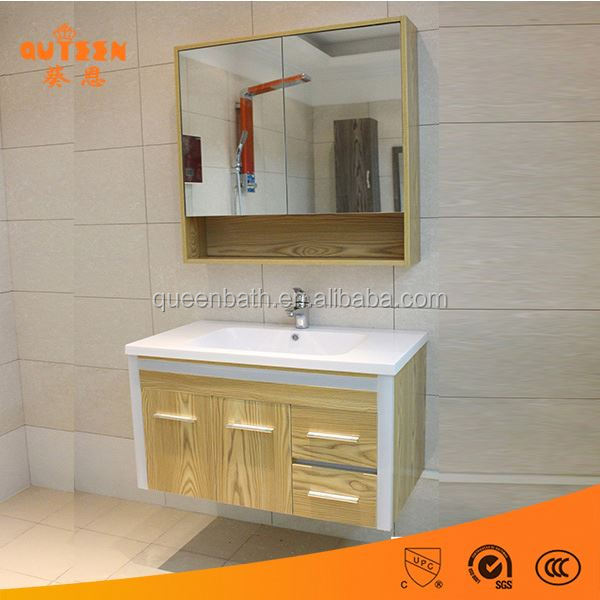 Xuancheng cheap wall hang oak wood bathroom storage cabinet
