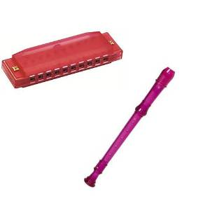 My First Recorder / Harmonica Pack -BPA FREE Pink Translucent Recorder w/Red Hohner Harmonica
