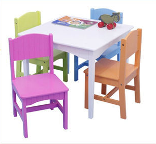 colorful solid wood kids table and chair set study activity toddle