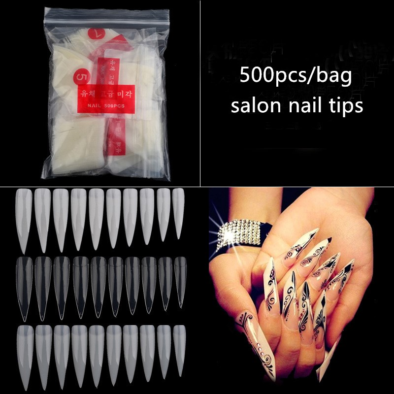 500pcs excellent quality sharp stiletto <strong>nail</strong> <strong>tips</strong> false <strong>acrylic</strong> <strong>nail</strong> art <strong>tips</strong> <strong>nails</strong>