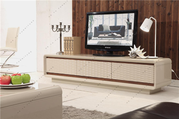 Modern Wave Design High Gloss Beige Electric Fireplace Tv ...