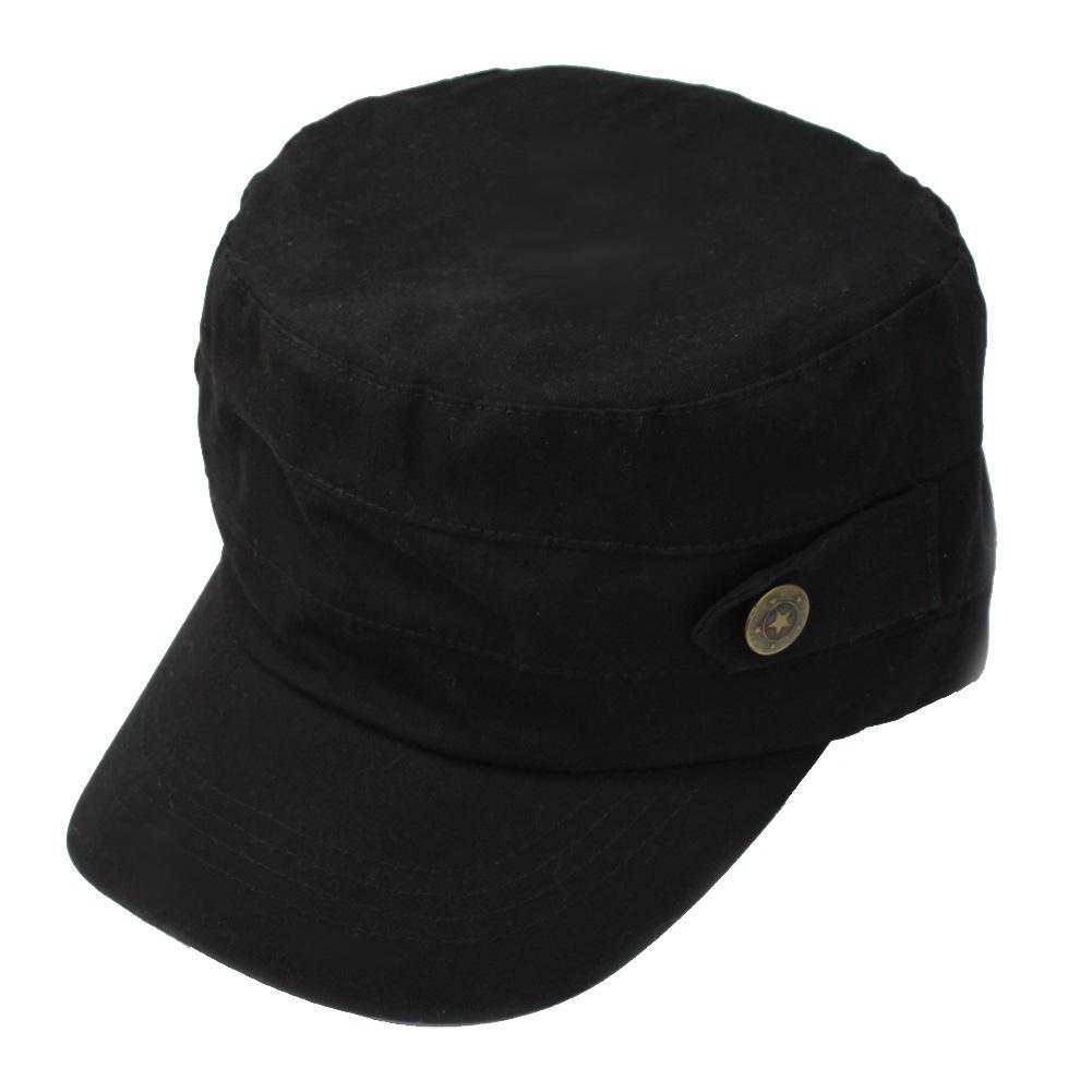 Get Quotations · Unisex Black Cotton Adjustable Classic Army Cadet Military Flat  Top Hat Cap 88c3f0d5b87
