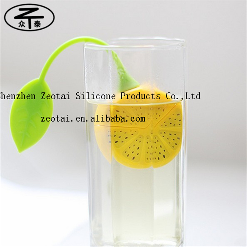 lemon yelllow colored silicone lemon leaf silicone tea bag, lemon silicone tea tag