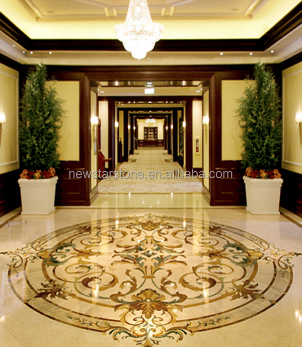 Crema Marfil Beige Marble Pattern For Lobby Entrance Made