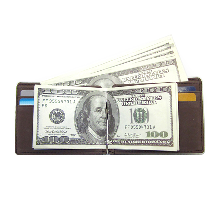 PU leather money clip 100 dollar wallet credit card purse
