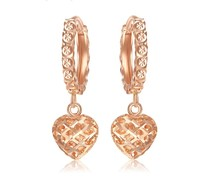 Wholesale Fashion 18K Solid Gold Heart Drop Dangle Earring Pink For Women