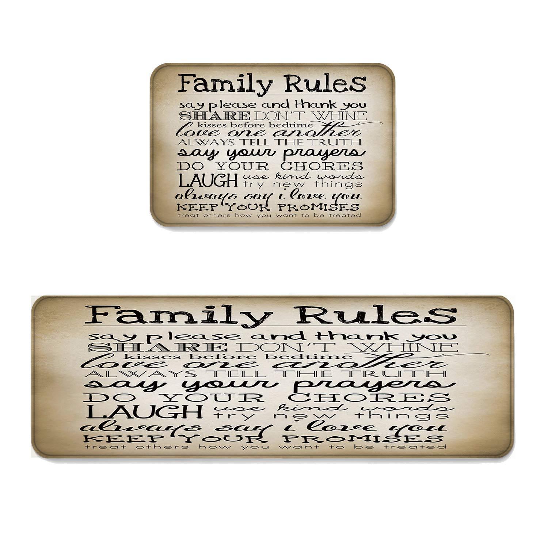 "Beauty Decor 2 Piece Non-Slip Kitchen Mat Runner Rug Set Retro Doormat Area Rugs Family Rules 15.7""x23.6""+15.7""x47.2"""