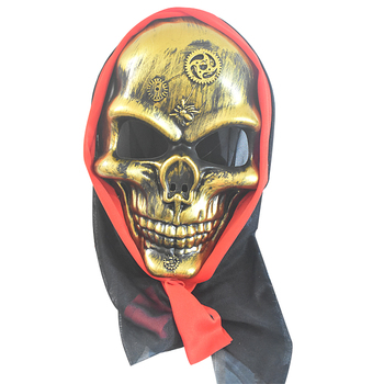 Masquerade party bar decoration ball horror halloween plastic copper color full face skull mask