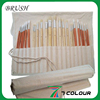 24 Piece Long Hand Artist Paint Brush Holder, Canvas Roll Up