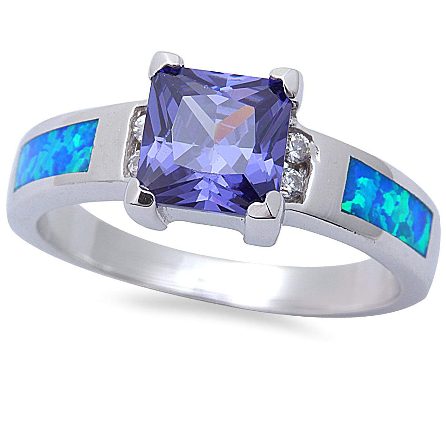 Princess Cut Simulated Tanzanite, CZ, & Lab Created Blue Opal .925 Sterling Silver Ring SIZES 5-9