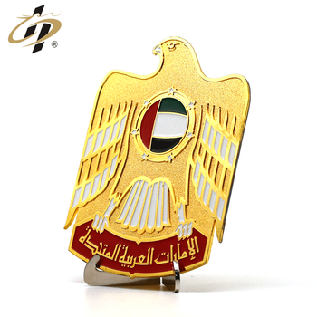 2019 Wholesale custom Gold-plated enamel UAE souvenir plates